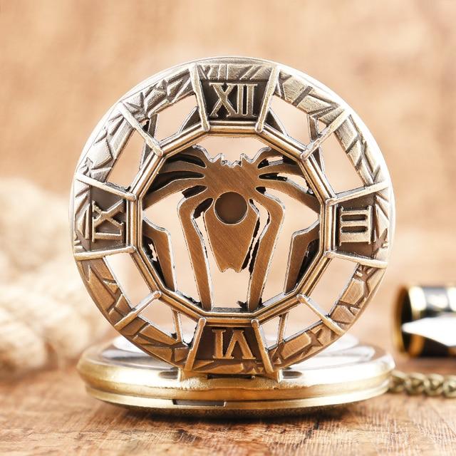 Bronze Vintage Cool Spider Symbol Quartz Pocket Watch Men Boys Kids Fashion Retr