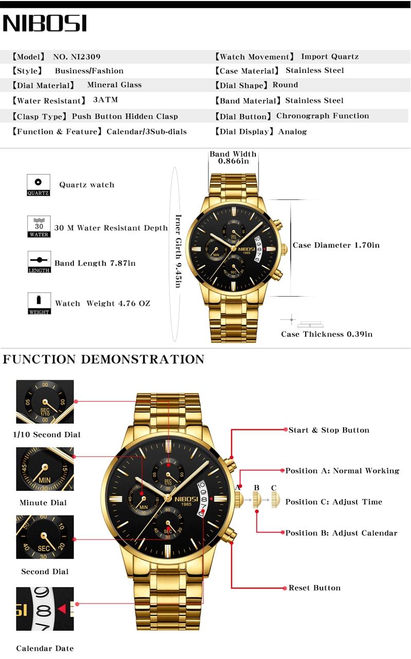 NIBOSI Relogio Masculino Watch Men Gold And Black Mens Watches Top Brand Luxury Sports Watches 2018 Reloj Hombre Marca De Lujo (2)