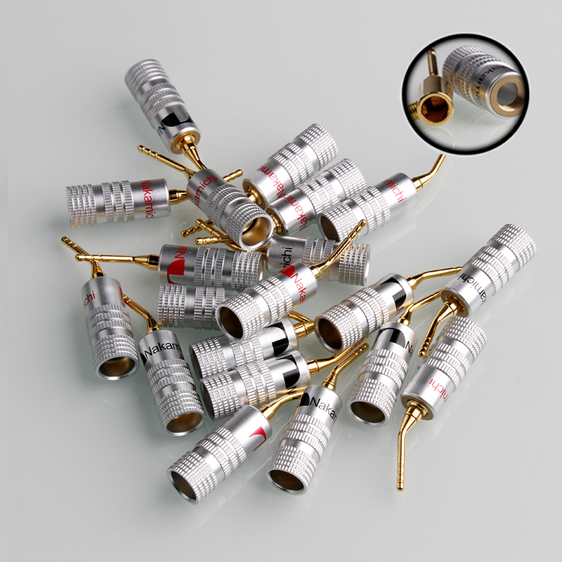 8 stücke 2mm Nadelförmigen Banana Stecker 24 karat Gold Nakamichi Lautsprecher Pin Engel Lautsprecher draht Schraube Lock Anschluss Für musical HiFi Audio