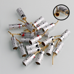 8PCS 2mm Acicular Banana Plug 24K Gold Nakamichi Speaker Pin Angel Speaker wire Screw Lock Connector For Musical HiFi Audio