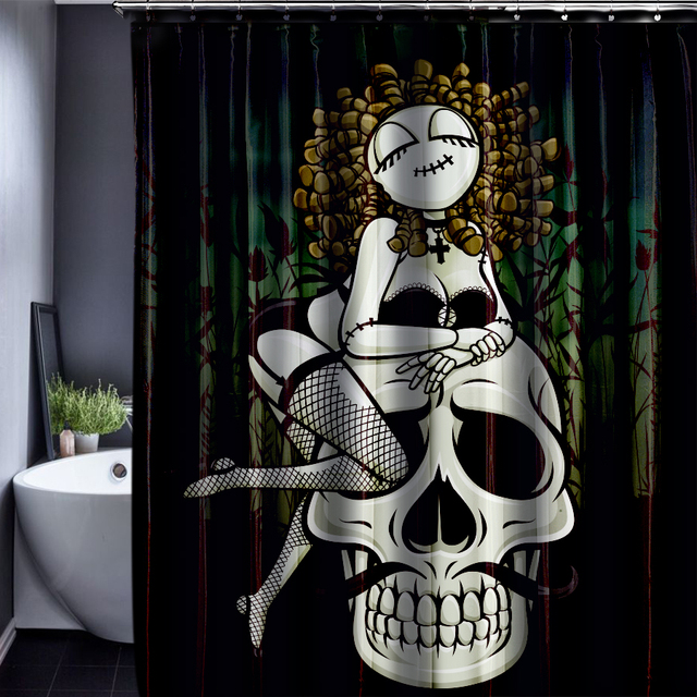 Skull Customized Shower Curtain Bathroom Accessories Waterproof Polyester Fabric Curtains