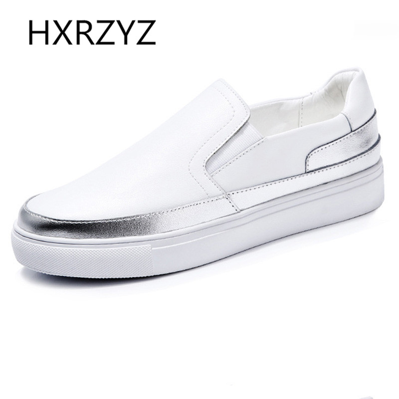 HXRZYZ spring and Autumn new fashion women Soft Leather Casual Flat Shoes Women thick bottoms platform Rubber Soles black flats new spring summer women flats brand casual women shoes flat heels pu fashion crystal shoe pointed toe soft soles