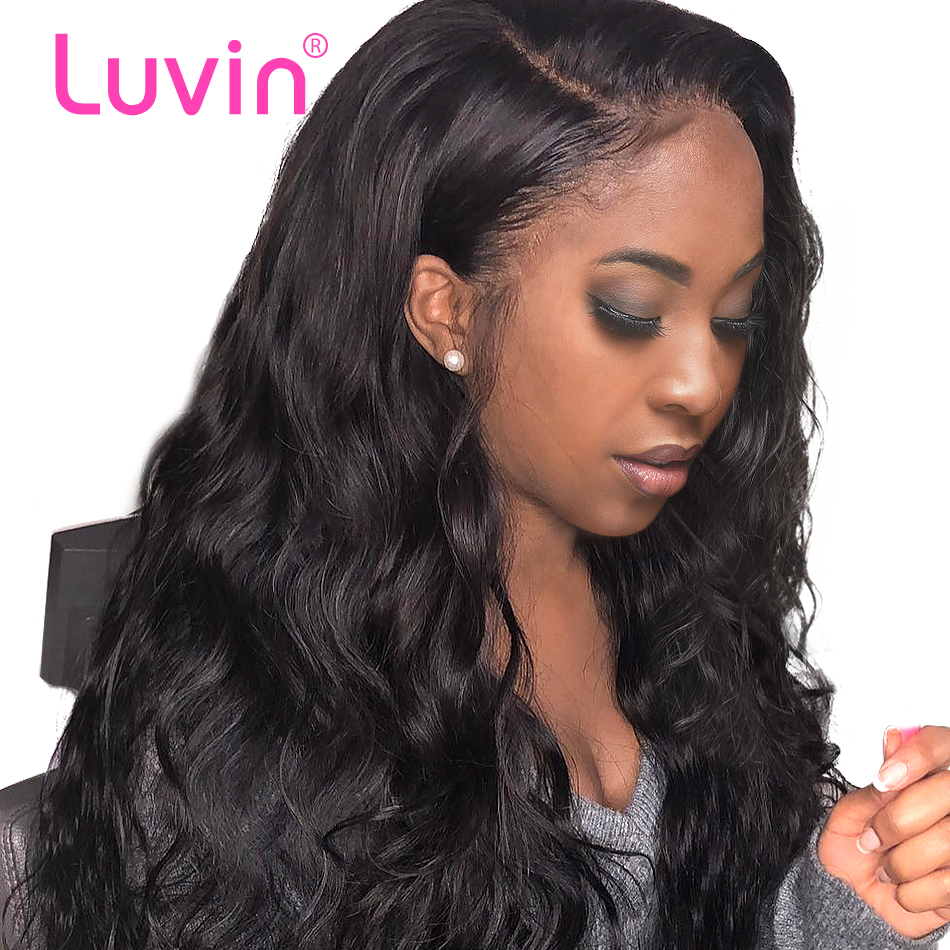 Luvin 250 density 360 Lace Frontal Wigs Pre Plucked With Baby Hair Full Brazilian Body Wave Human Hair Lace Front Wig Water Wave(China)
