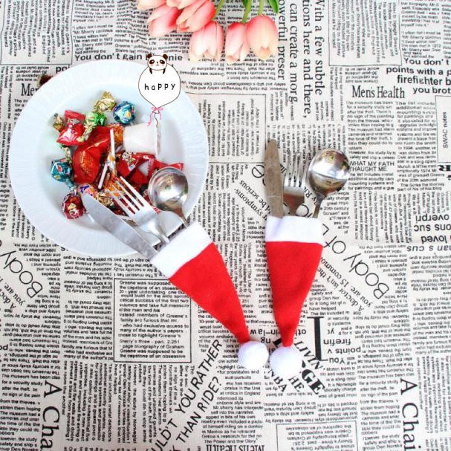 Рождественская Декоративная посуда нож Вилка Набор Рождественская шляпа хранение инструмент нож держатель для палочек для еды вилка для п...