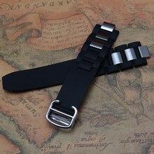 Ремешки для наручных часов ремешок Браслеты Черный с серебряными специальный складной развертывания пряжки мужские Часы Аксессуары резиновый обруч металл 20 мм hot