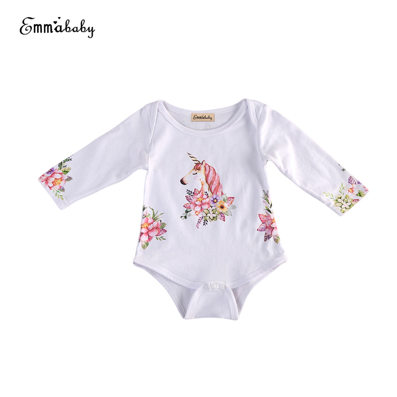 Unicorn Cotton Baby Romper Newborn Baby Girls Boy Cute Long Sleeves Floral Romper 2017 New Arrival Jumpsuit Outfits Clothes 0-2Y