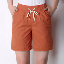 Yesello Cotton Linen Women Shorts  Elastic Waist 2018 Summer New Casual Women Shorts Pockets Half Long Basic Shorts Plus Size