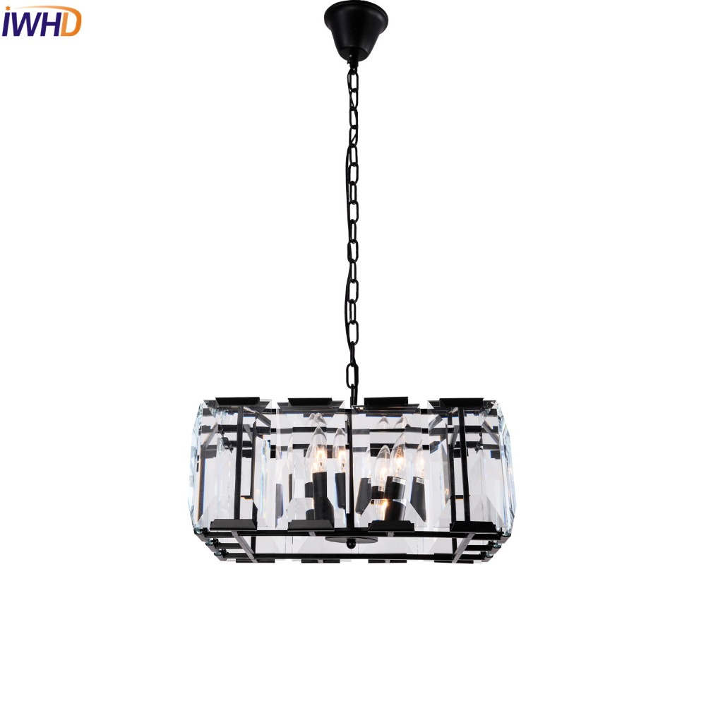 IWHD American Square Crystal LED Pendant Light Fixtures Dinning Room Vintage Lamp Industrial Lighting Lustre De Cristal кастрюля tescoma home profi с крышкой 3 л