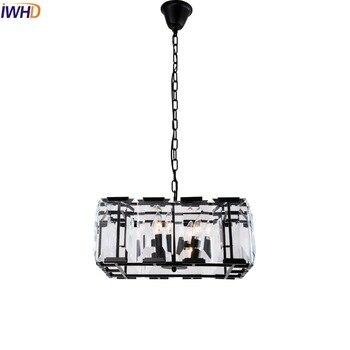 IWHD Americano Cristal Quadrado LEVOU Luminárias Pingente Sala de Jantar Lâmpada Lustre De Cristal de Iluminação Industrial Do Vintage