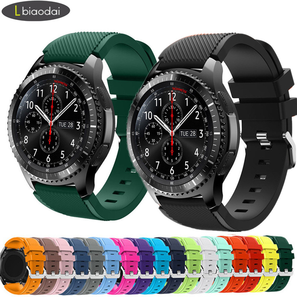 Silicone Band For Samsung Galaxy Watch 46mm Strap Gear S3 Frontier Band 22mm Bracelet Huawei Watch GT Strap Gear S 3 Classic 46