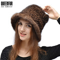 2016 New Style Real Knitted Mink Fur Hat Fashion Natural Mink Fur Thick Beanie Women Winter Warm Flower Real Fur Cap 8 Colors