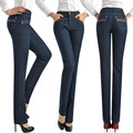 Free Shipping High Quality Women's high waist jeans female slim pencil casual pants large size trousers 29-40