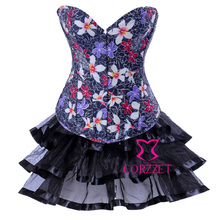 Beautiful Flowears Print Denim Overbust Corset Dress Sexy Women Corpete Jean Top with Skirt Shaper Lingerie