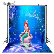 Thin Vinyl mermaid under seabed flowers flamingo baby children Photography Studio backgrounds Professional indoor Photo backdrop(China)