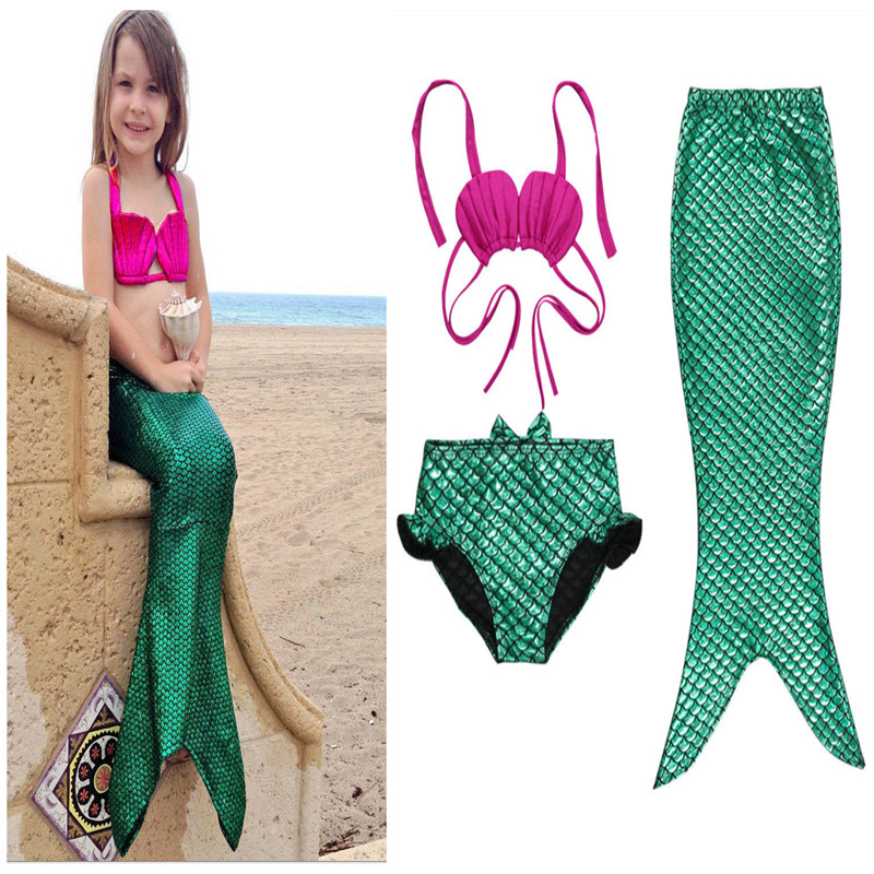 3PCS Tjej Barn Mermaid Tail Swimmable Bikini Set Baddräkt Fancy - Barnkläder - Foto 5