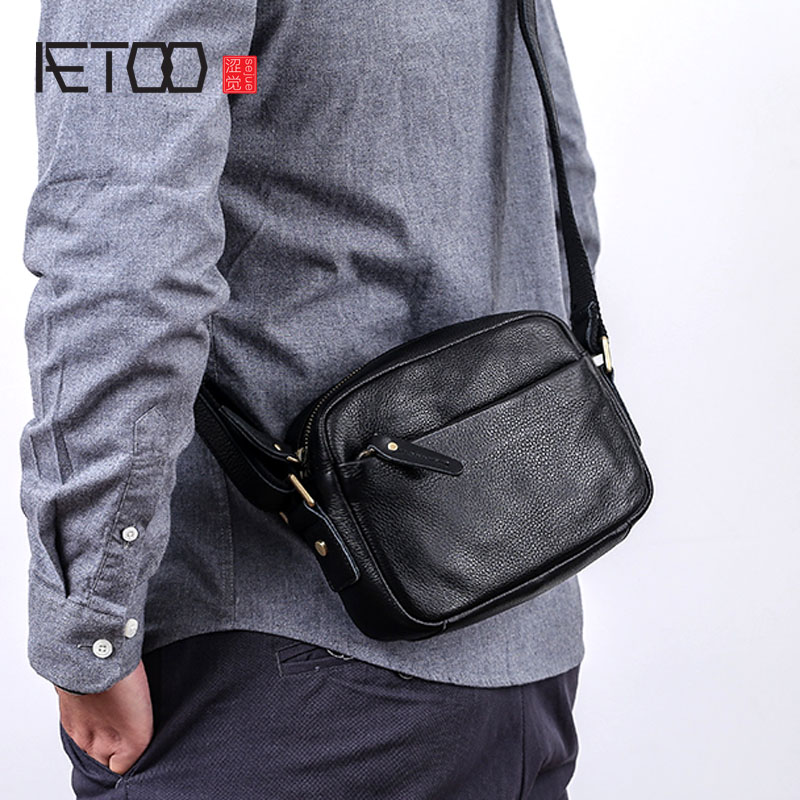 AETOO Leather diagonal cross bag male mini trend casual youth men s suede leather shoulder bag