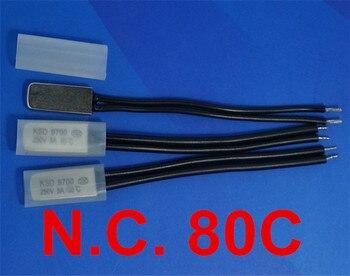 100 pcs/lot) 80C KSD9700 Normally Close Thermostat, Temperature Switch, NC 80 Celsius, Bimetal Disc.
