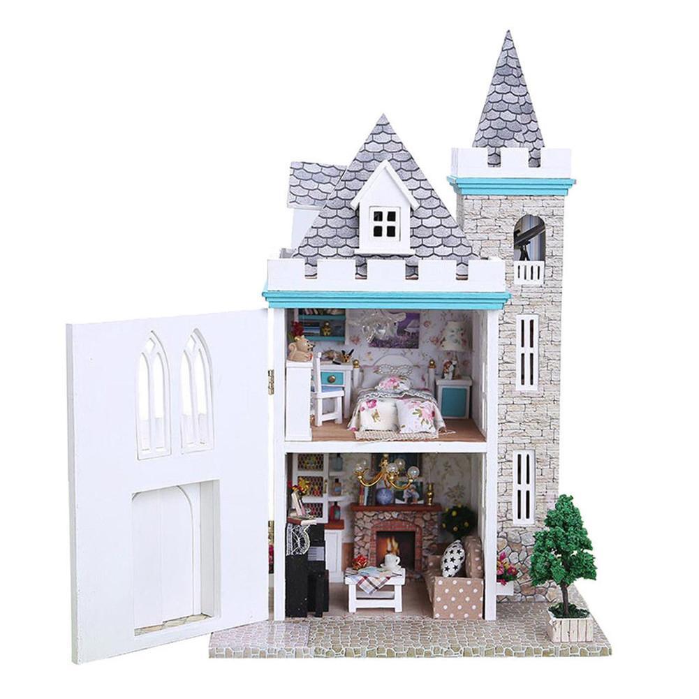 Mondlicht Castle DIY Puppenhaus Realistische 3D Handgemachte Holz Puppen Haus Mit Led-leuchten Zwei-Stöckige Villa Modell Spielzeug Für kinder Spielen
