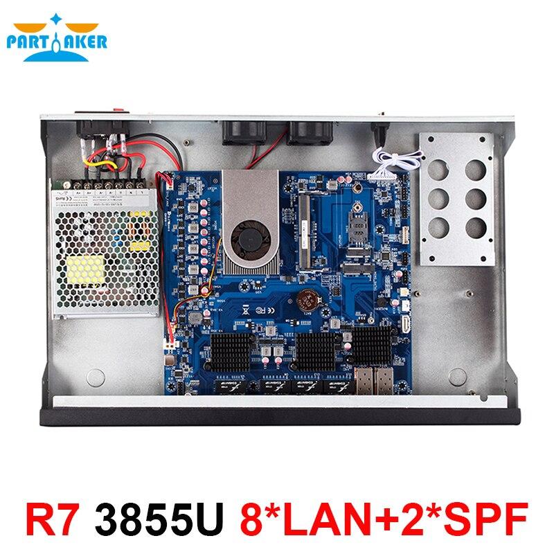 Teilhaftig R7 Firewall Server Netzwerke Celeron 3855U 2GB RAM 32GB SSD mit 8 * Intel 82583V Gigabit ethernet ports 2 SFP