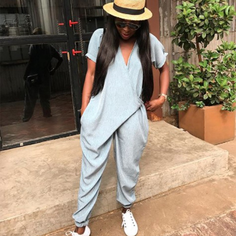 New V Neck Casual Loose Jumpsuit Hip-Hop Jumpsuits For Women 2018 Casual Street Style Rompers Womens Jumpsuit Ladies Jumpsuit