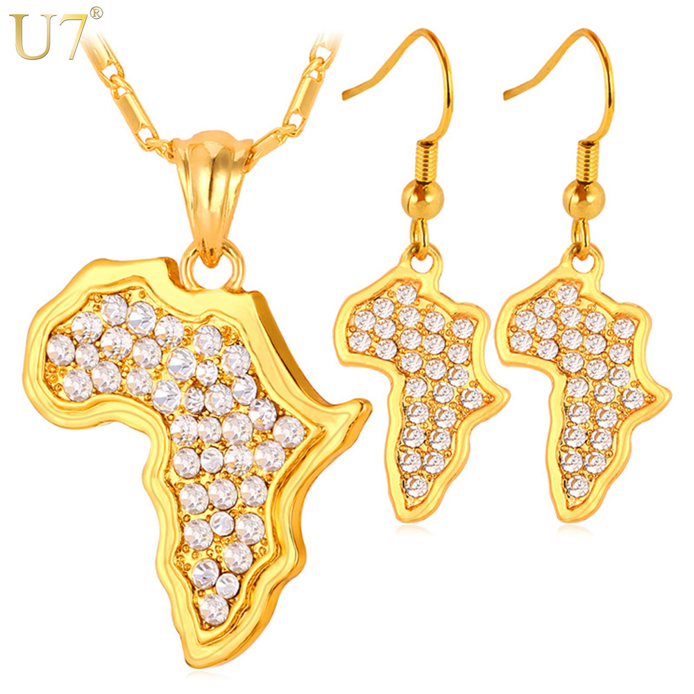 U7 Africa Map Pendant Necklace And Earrings Set Sale Trendy Yellow Gold Color Rhinestone African Jewelry Sets For Women S379 chic rhinestone african plate shape pendant necklace and earrings for women