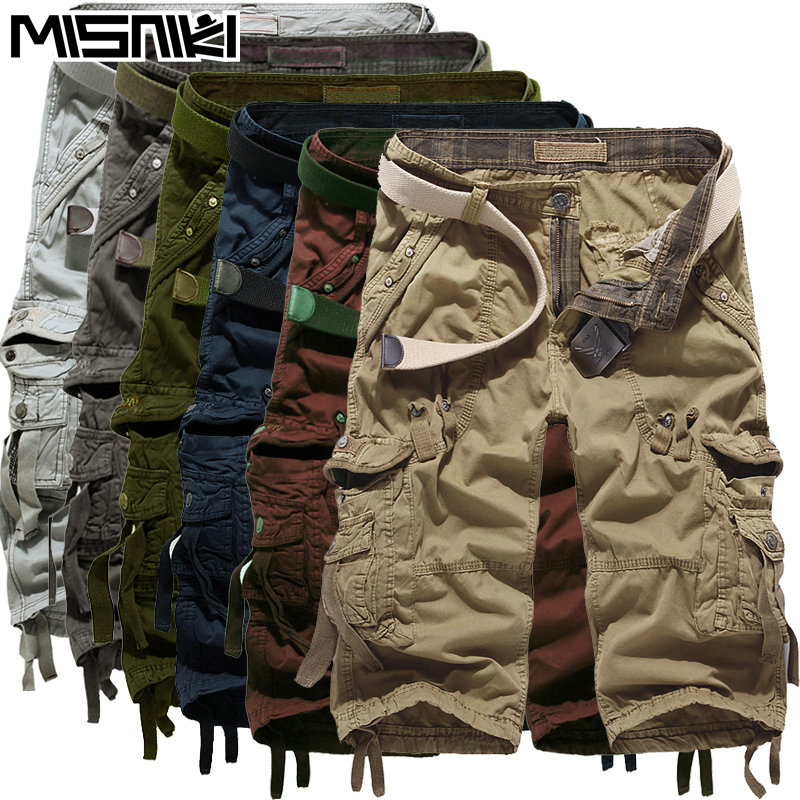 MISNIKI Top Selling 2017 Summer Calf Length Cargo mens shorts Multi pocket Solid Men Beach Shorts