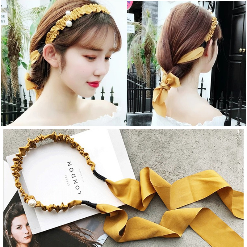 New Women Bow Hairbands Peral Hair Accessories Headdress Girl Korean Sweet Headbands Fashion Personality   Headwear   Hair Ribbons