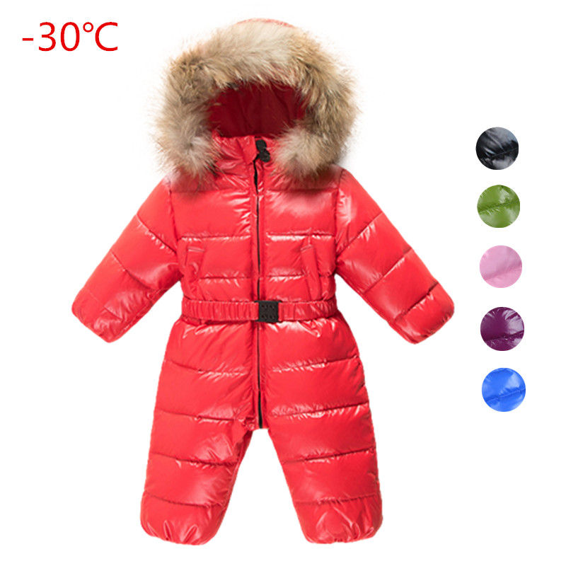 Russia winter baby clothing ,6-24M baby girl jumpsuits winter coats snow wear duck down jacket ,snowsuits for kids boys clothes