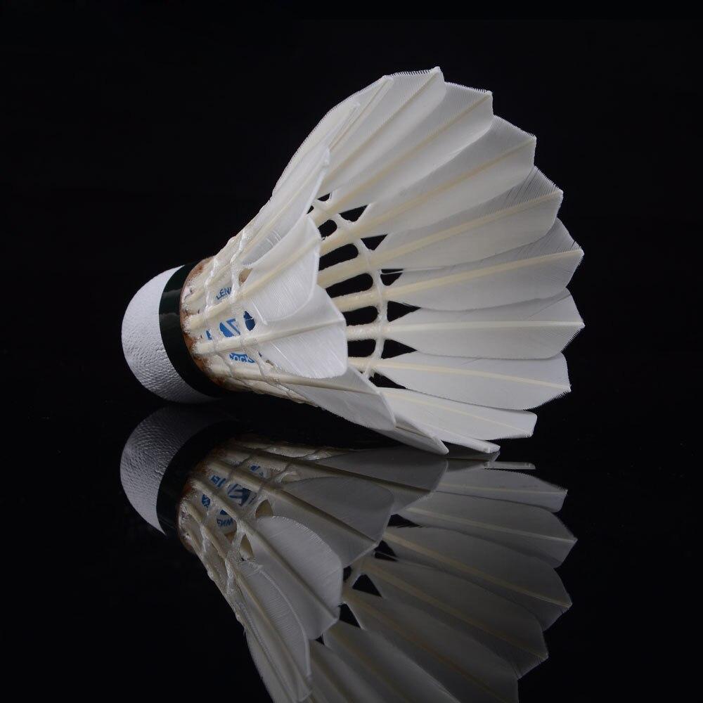 Оптовая продажа; 12 шт./лот Профессиональный Воланы хорошего полета долговечность Высококачественная Белая утка Перо Бадминтон
