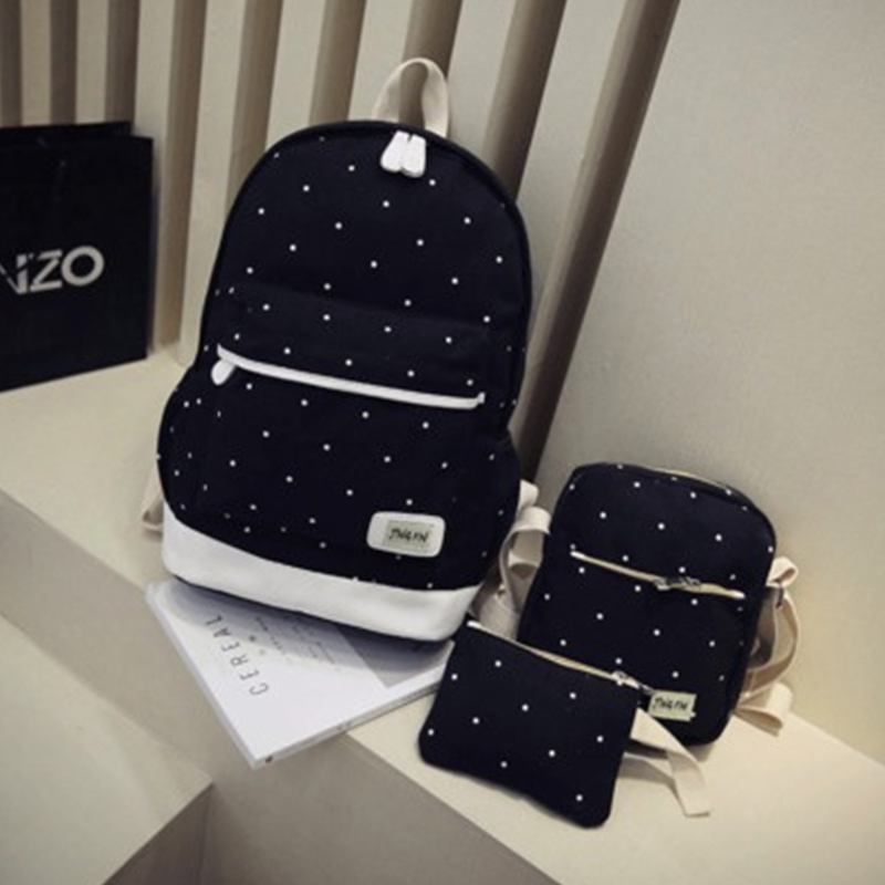 3pcs Set Women Canvas Backpack Big Student Book Bag with Purse Laptop Bag High Quality Ladies School
