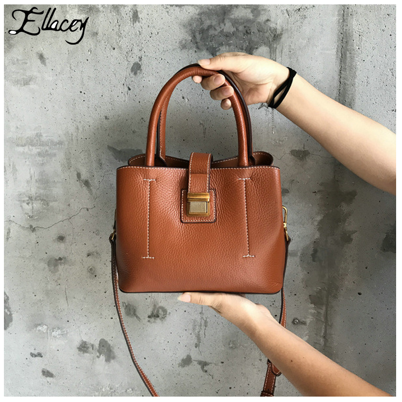 New 2017 Saffiano Cow Leather Shoulder Bag Office Lady Genuine Leather Handbags Women Small Crossbody Bags Brief Messenger Bags genuine leather studded satchel bag women s 2016 saffiano cute small metal rivet trapeze shoulder crossbody bag handbag
