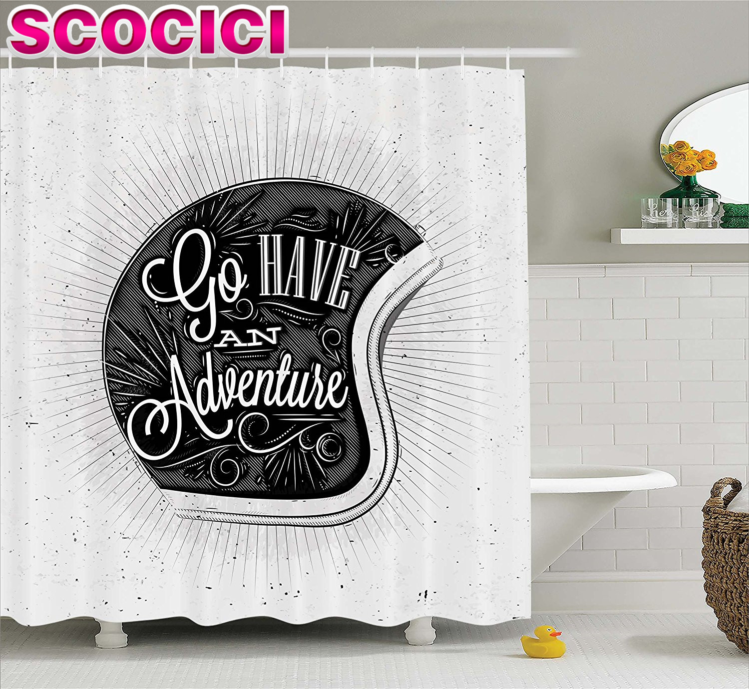 Vintage Decor Shower Curtain Motorcycle Figure With Adventure Quote And  Ornate Lines Contemporary New Graphic Fabric