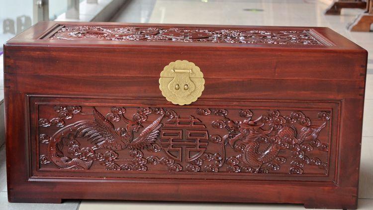 Camphor wood furniture Double Happiness camphorwood Box Hand Carved Wood  dragon wedding dowry box and fur
