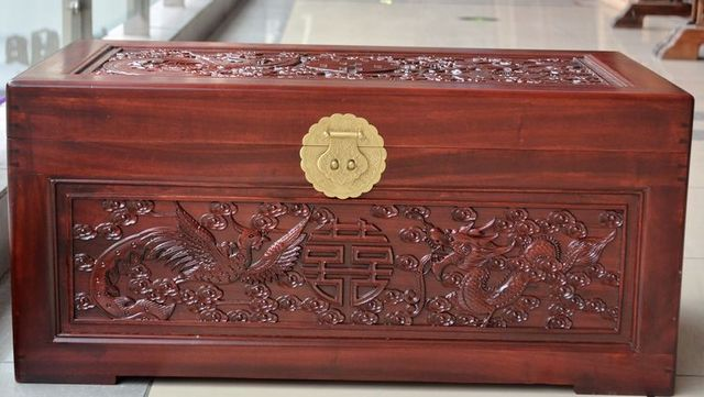 Camphor Wood Furniture Double Hiness Camphorwood Box Hand Carved Dragon Wedding Dowry And Fur