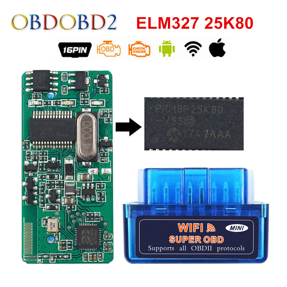 Super Mini ELM 327 V1 5 WIFI Real PIC18F25K80 OBD2 Diagnostic Tool ELM327 WI-FI 1 5 Auto OBDII Scanner For  IOS Android