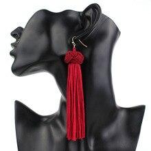 Trend Bohemia Handmade Braid Long Tassel Earring Multicolor Geometric Ethnic Hanging Dangle Drop Earrings for Women Kolczyki
