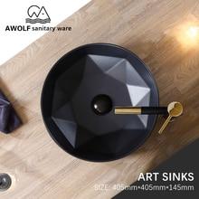 Art Bathroom Sinks Matte Black Ceramic Vessel Round Washing Basin Bowl Above Counter Modern Lavatary Sink For Balcony Use AM902