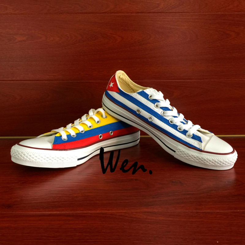 Wen Design Custom Hand Painted <font><b>Shoes</b></font> <font><b>Columbia</b></font> and Cuba Flag Low Top Man Woman's Canvas Sneakers for Christmas Gifts