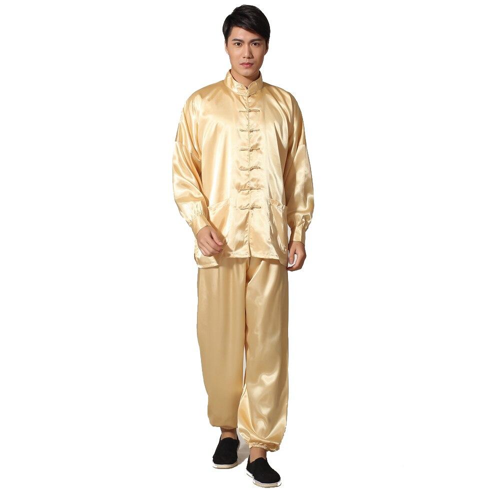 Novelty Gold Men's Satin Pajamas Set Chinese Style Button Pyjamas Suit Soft Sleepwear Shirt&Trousers Nightgown M L XL XXL
