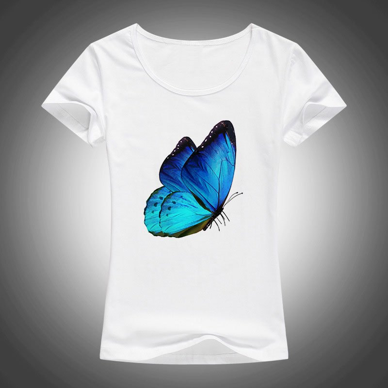 summer Cartoon printed t shirt women Kawaii top tee short sleeve Harajuku T-shirt Pretty blue butterfly print tshirt Female F21