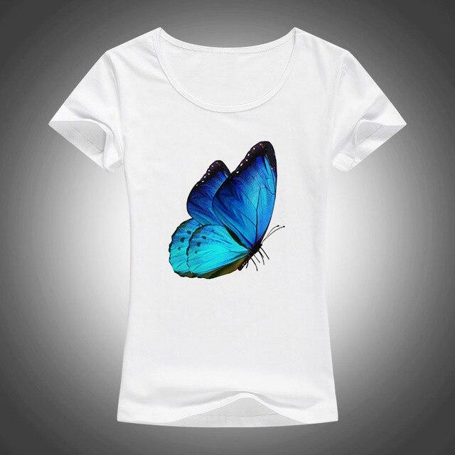 d24ccd6b208b2e summer Cartoon printed t shirt women Kawaii top tee short sleeve Harajuku T- shirt Pretty blue butterfly print tshirt Female F21