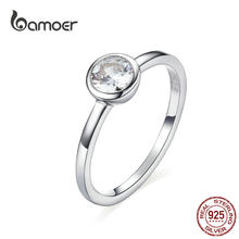 bamoer Basic Clear Zirconia Finger Ring 925 Sterling Silver Minimalist Women Engagement Wedding Band Ring SCR535(China)