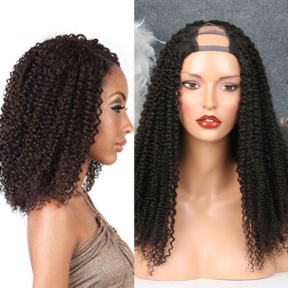 SimBeauty 100% Unprocessed Peruvian Kinky Curly U Part Wigs For Black Women 100% Human Hair Remy Hair Opening Wig With Combs