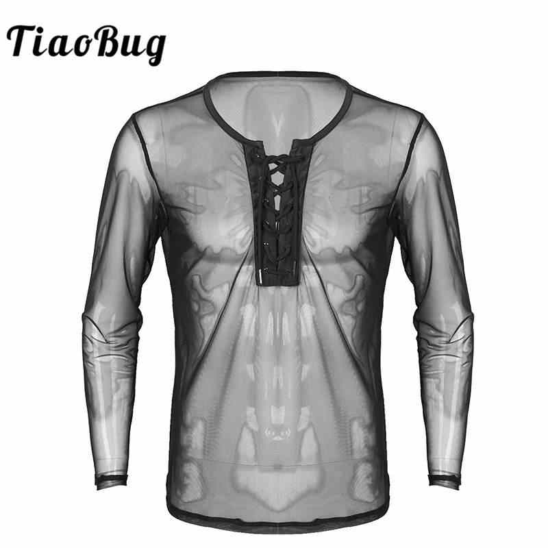 d93ee1a5ae83 TiaoBug Mens Lace Up Mesh See Through Long Sleeve T-Shirt Men Sexy Club Wear