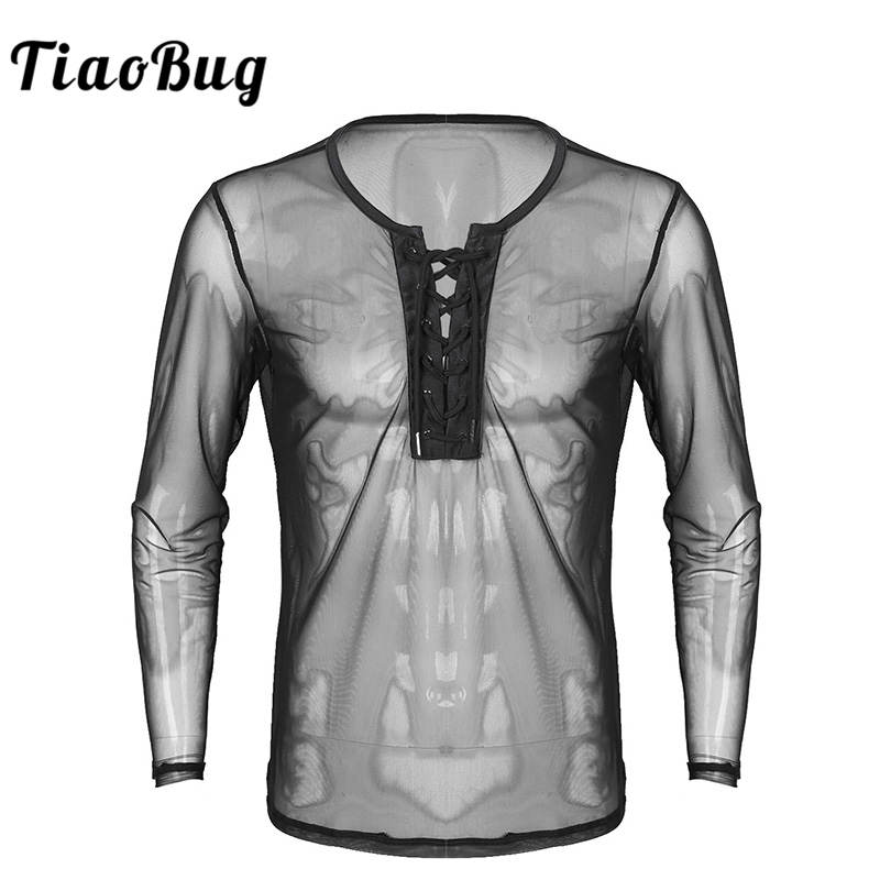 TiaoBug <font><b>Mens</b></font> Lace Up <font><b>Mesh</b></font> See Through <font><b>Long</b></font> Sleeve T-<font><b>Shirt</b></font> <font><b>Men</b></font> Sexy Club Wear Costumes Undershirts Sheer Fishnet Tops image