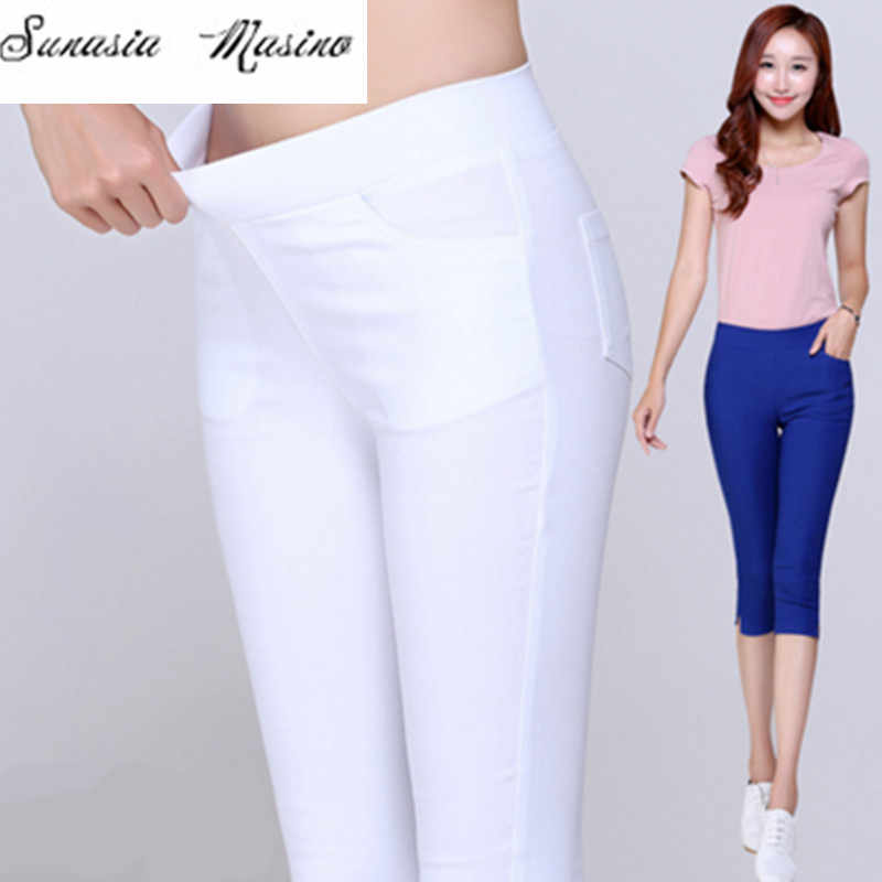 0c55a8f51a057 Extra Large Size leggings 2018 Summer Style Candy Color Capris Pants Women  Thin Summer Pants Ladies