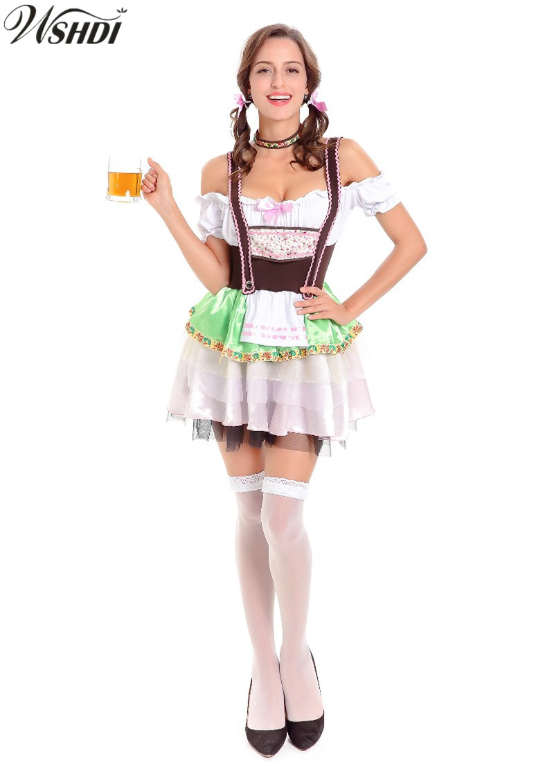 High Quality Sexy Beer Maid Costume Women German Oktoberfest Dirndl Dress Adult Halloween Party Costume