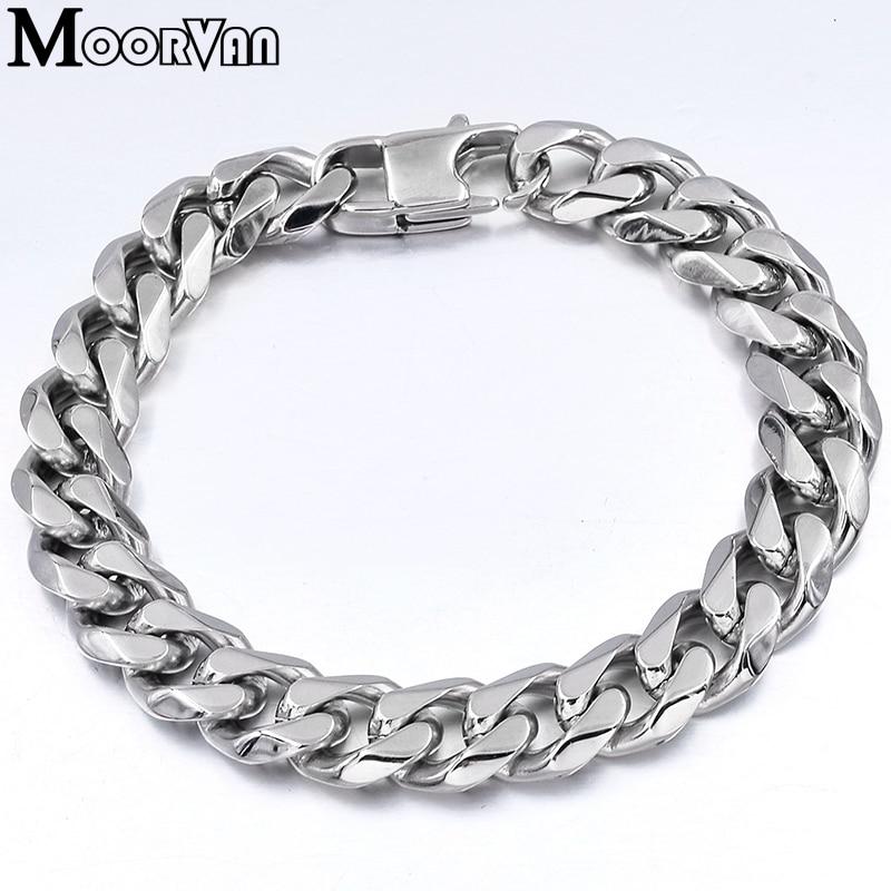 Moorvan Jewelry Men Bracelet Cuban links & chains Stainless Steel Bracelet for Bangle Male Accessory Wholesale B284 27