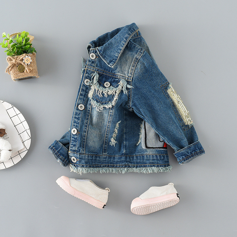 Girls Clothes Spring Autumn Kids Denim Coat Long-Sleeved Cartoon Jacket Fashionable Clothing For Girl 1-12y