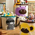 Large capacity baby cartoon animals receive a bucket of  Folding laundry basket receive bag children's toys cotton bags